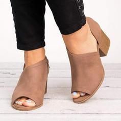 Mulheres PU Salto robusto Bombas Peep toe Bota no tornozelo sapatos