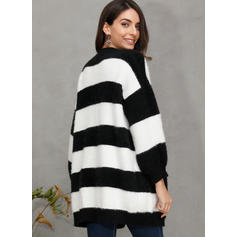 Polyester Long Sleeves Color Block Striped Cardigans