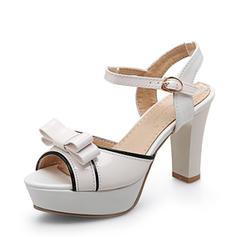 Donna Pelle verniciata Tacco spesso Sandalo Stiletto Piattaforma Punta aperta con Bowknot scarpe