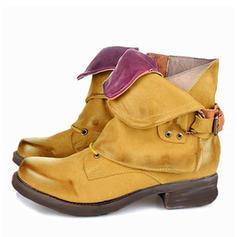 Dla kobiet PU Płaski Obcas Plaskie Zakryte Palce Kozaki Kozaki do polowy lydki Z Klamra obuwie