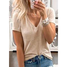 固体 Vネック 半袖 カジュアル ベーシック Tシャツ