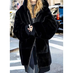 Faux Fur Long Sleeves Plain Shearling Coats
