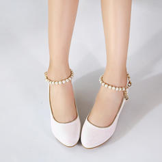 Girl's Leatherette Low Heel Closed Toe Pumps Flower Girl Shoes With Imitation Pearl