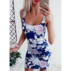 Estampado/Floral Sem mangas Bodycon Acima do Joelho Casual/Férias Vestidos
