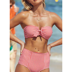 Solid Color Bandeau High Waist Strapless Sexy Bikinis Swimsuits