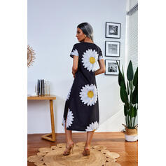 Imprimeu/Floral Mâneci Scurte Shift Elbiseleri gündelik Midi Elbiseler