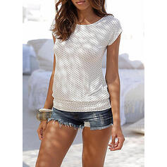 PolkaDot Round Neck Short Sleeves Casual T-shirts