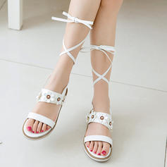 Women's Leatherette Low Heel Sandals Flats Peep Toe With Lace-up shoes