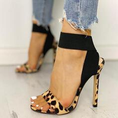 Femmes Cuir en microfibre Talon stiletto Escarpins avec La copie Animale chaussures
