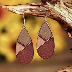 Boho Geometric Alloy Wood Earrings 2 PCS