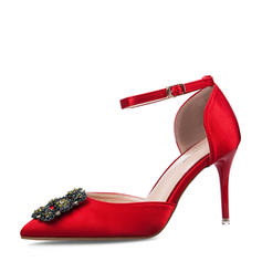 Women's Satin Stiletto Heel Sandals Pumps Closed Toe With Buckle shoes