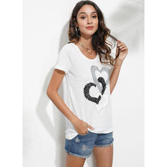 Print Heart Round Neck Short Sleeves Casual Blouses
