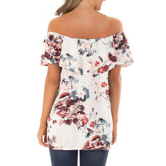 Floral Off the Shoulder Short Sleeves Casual Sexy Blouses