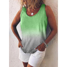 Tie Dye Round Neck Sleeveless Casual Tank Tops