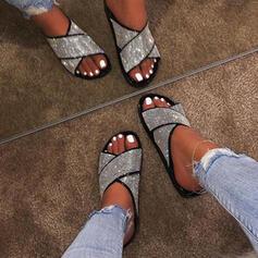 Donna Tessuto Senza tacco Sandalo Punta aperta Ciabatte con Paillette scarpe