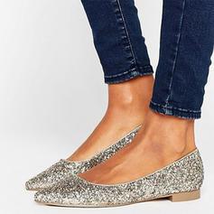 Frauen Funkelnde Glitzer Flascher Absatz Flache Schuhe Geschlossene Zehe Schuhe