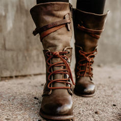 Frauen PU Flascher Absatz Flache Schuhe Geschlossene Zehe Stiefel Stiefel-Wadenlang mit Zuschnüren Schuhe