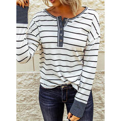Stripet Rund hals Lange ermer Button up Casual Strikking Bluser