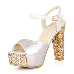 Women's PU Chunky Heel Sandals Pumps Platform With Buckle shoes