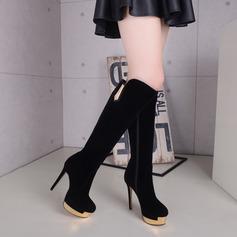 Camurça Espumante Glitter Salto agulha Plataforma Bota no joelho com Zíper sapatos