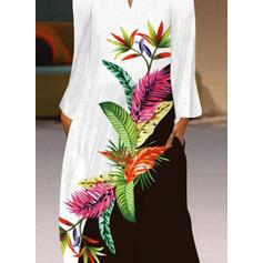 Imprimeu/Renkli klişe Mâneci Lungi Shift Elbiseleri gündelik Maxi Elbiseler