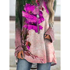 Floral Impresión Cuello Redondo Manga Larga Camisetas