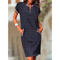 Print/PolkaDot Short Sleeves Bodycon Knee Length Casual Pencil Dresses