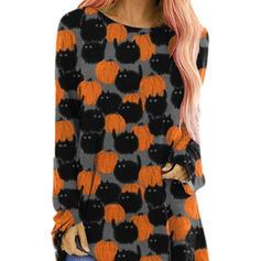 Halloween Nadruk Okrągły dekolt Długie rękawy T-shirty