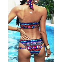 Colorful Print Halter Vintage Bikinis Swimsuits