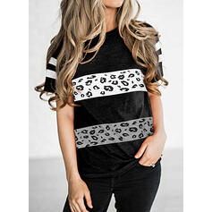 Leopard Print Striped Round Neck Short Sleeves T-shirts