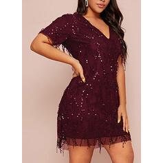 Sequins/Solid Short Sleeves Sheath Knee Length Little Black/Party/Plus Size Dresses