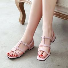 Frauen Lackleder PU Niederiger Absatz Sandalen Peep Toe Slingpumps mit Schnalle Schuhe