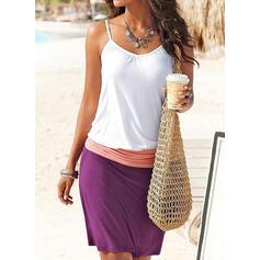 Color Block Sleeveless Sheath Above Knee Casual/Vacation Dresses