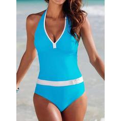 Triangle Patchwork V-Neck Sports Boho One-piece Swimsuits