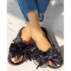 Femmes Tissu Mesh Talon plat Sandales À bout ouvert Chaussons avec Bowknot chaussures