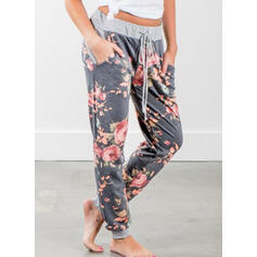 Floral Pockets Drawstring Long Boho Casual Pants