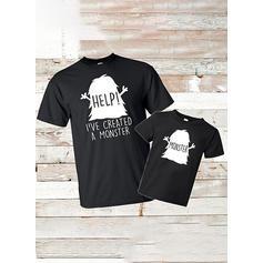 Papa et moi Letter Dessin Animé Correspondant à T-shirts