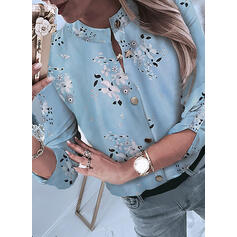 Stampa Floreale Alzarsi il colletto Maniche lunghe Bottone Casuale Shirt and Blouses