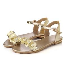 Femmes Vrai cuir Talon plat Sandales Chaussures plates À bout ouvert avec Perle d'imitation Boucle chaussures