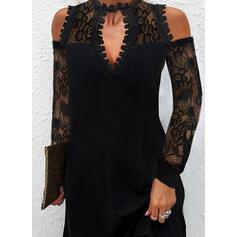 Sólido Encaje Manga Larga manga de hombros fríos Vestidos sueltos Sobre la Rodilla Pequeños Negros/Elegante Vestidos