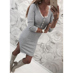 Lace/Solid Long Sleeves Bodycon Knee Length Casual Dresses