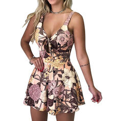 Floral Print V-Neck Sleeveless Casual Vacation Romper