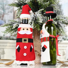 Merry Christmas Snowman Cloth Bottle Cover