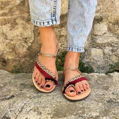 Donna Tessuto Senza tacco Sandalo Punta aperta Ciabatte con Nappa scarpe
