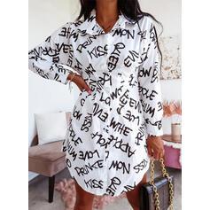 Nadruk/Wytłaczany Długie rękawy Pokrowiec Nad kolana Nieformalny Koszula Sukienki