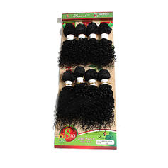 Kinky Curly Synthetic Hair Human Hair Weave 8pcs