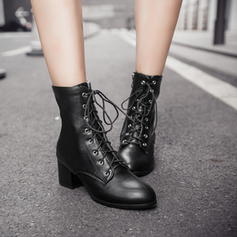 Women's Leatherette Rubber Chunky Heel Closed Toe Boots Mid-Calf Boots Martin Boots Riding Boots With Lace-up shoes