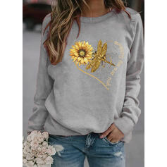 Animal Print Sunflower Print Round Neck Long Sleeves Sweatshirt