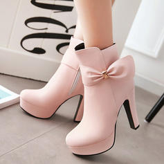 Women's PU Stiletto Heel Pumps Closed Toe Boots With Bowknot shoes