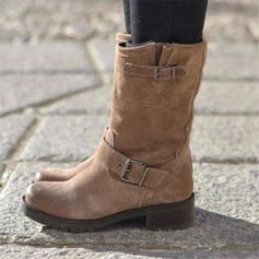 Femmes PU Talon plat Chaussures plates Bout fermé Bottes Bottes mi-mollets avec Boucle chaussures